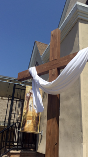 The cross in front of our church on Easter morning. <3